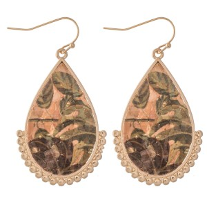 """Tropical Hibiscus Cork Teardrop Earrings with Gold Beaded Accents.  - Approximately 1.5"""" L"""