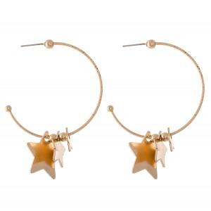 """Stepping Stars Hoop Earrings.  - Approximately 1.5"""" in diameter"""