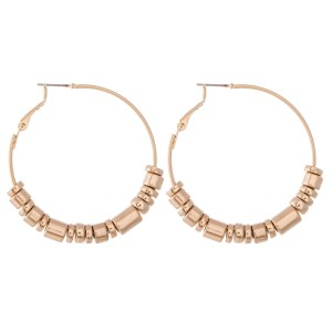 "Metal Tone Beaded Hoop Earrings.  - Approximately 2"" in diameter"