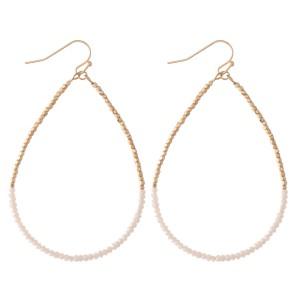 """Half & Half Dainty Beaded Teardrop Earrings.  - Approximately 2.75"""" L"""
