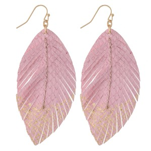 "Animal Print Feather Drop Earrings with Gold Metallic Detail.  - Approximately 3"" L"