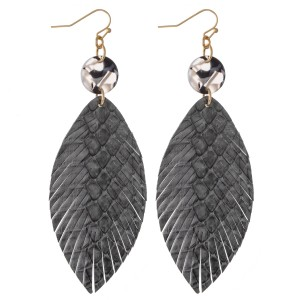 """Animal Print Feather Drop Earrings with Resin Accent.  - Approximately 3.5"""" L"""