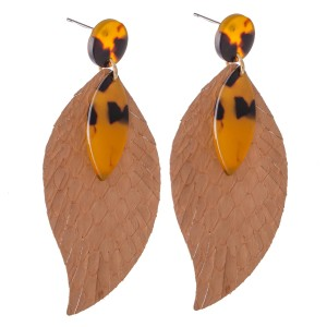 """Animal Print Feather Drop Earrings Featuring Resin Accents.  - Approximately 2.75"""" L"""