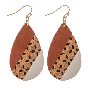 "Faux Leather Teardrop Earrings with Cork Flower Print Detail.  - Approximately 2"" L"