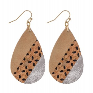"Faux Leather Teardrop Earrings with Cork Flower Print Detail.  - Approximately 2"" L"
