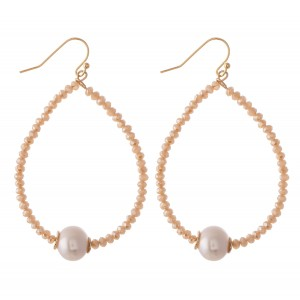"""Faceted Beaded Teardrop Earrings Featuring A Pearl Detail.  - Approximately 2.75"""" L"""