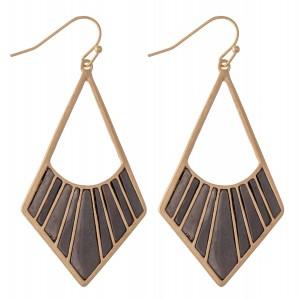 "Metal Tone Drop Earrings.  - Approximately 2.25"" L"