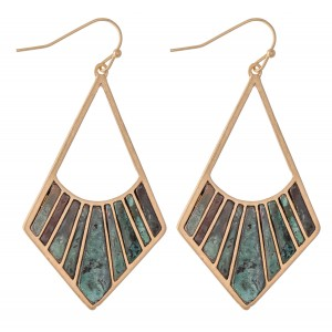"""Gold Tone Drop Earrings Featuring Patina Tones.  - Approximately 2.25"""" L"""
