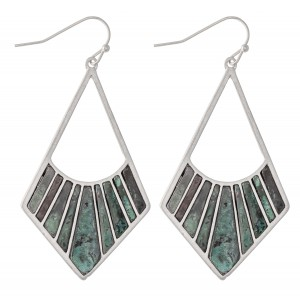 """Silver Tone Drop Earrings Featuring Patina Tones.  - Approximately 2.25"""" L"""