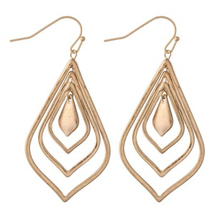 """Nested Moroccan Drop Earrings in Worn Gold.  - Approximately 2.25"""" L"""