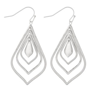 """Nested Moroccan Drop Earrings in Worn Silver.  - Approximately 2.25"""" L"""