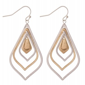 """Two Tone Nested Moroccan Drop Earrings.  - Approximately 2.25"""" L"""