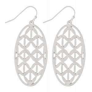 """Metal Filigree Oval Drop Earrings.  - Approximately 1.75"""" L"""