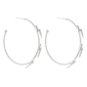 """Plated Brass Hoop Earrings Featuring Lightning Bolt Accents.  - Approximately 2"""" in diameter"""