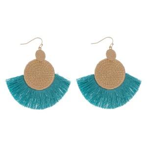 "Gold Woven Thread Tassel Drop Earrings.  - Approximately 3"" L  - Approximately 2.75"" W"