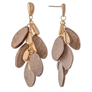 "Oval Wood Tiered Drop Earrings.  - Approximately 2"" L"