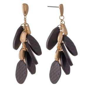 """Oval Wood Tiered Drop Earrings.  - Approximately 2"""" L"""