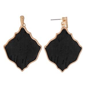 """Metal Encased Lotus Cork Drop Earrings.  - Approximately 1.75"""" L"""