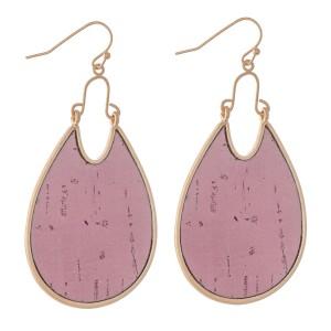 """Metal Encased Cork Teardrop Earrings.  - Approximately 2.5"""" L"""