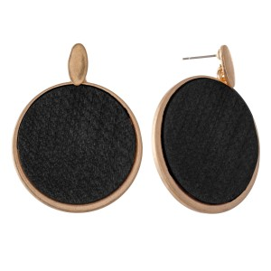 """Metal Encased Wooden Circle Drop Earrings.  - Approximately 2"""" L  - 1.5"""" in Diameter"""