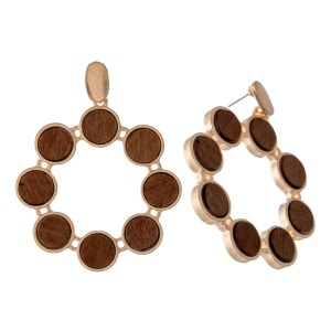 "Metal Encased Wooden Circular Drop Earrings.  - Approximately 1.75"" L  - 1.5"" in Diameter"