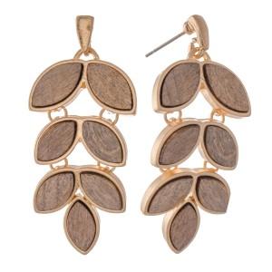 """Metal Encased Leaf Drop Earrings.  - Approximately 2"""" L"""