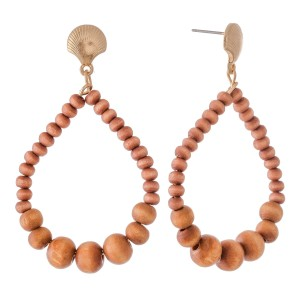 "Wood Beaded Teardrop Earrings Featuring Sea Shell Accent.  - Approximately 2"" L"
