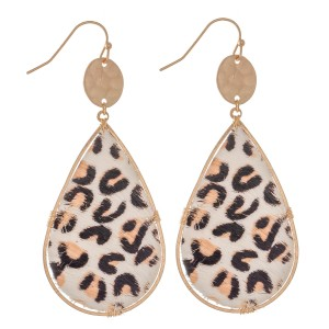 "Hammered Leopard Print Cow Hide Teardrop Earrings.  - Approximately 3"" L"