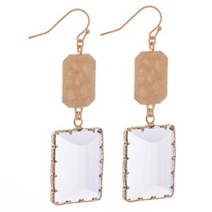 """Hammered Crystal Drop Earrings in Gold.  - Approximately 2.5"""" L"""