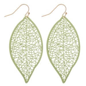 """Coated Filigree Leaf Drop Earrings in a Matte Finish.  - Approximately 2.5"""" L"""