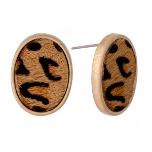 """Genuine Leather Leopard Print Cow Hide Oval Stud Earrings.  - Approximately .75"""" L"""
