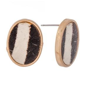 "Genuine Leather Zebra Print Cow Hide Oval Stud Earrings.  - Approximately .75"" L"