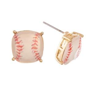 Crystal Baseball Stud Earrings.  - Approximately 11mm