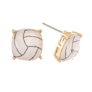 Crystal Volleyball Stud Earrings.  - Approximately 11mm