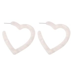 "Resin Heart Hoop Earrings.  - Approximately 2"""