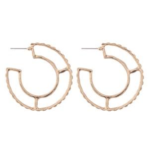 """Metal Cut Out Design Hoop Earrings.  - Approximately 2"""" in Diameter"""