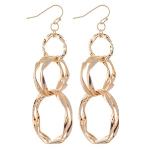 """Abstract Circle Linked Drop Earrings.  - Approximately 3"""" L"""