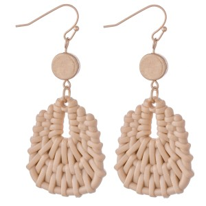 "Natural Color Plastic Basket Woven Drop Earrings in Gold.  - Approximately 2.5"" L"