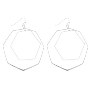"""Hexagon Nested Drop Earrings.  - Approximately 3"""" L  - Approximately 2"""" in Diameter"""