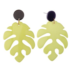 "Resin Palm Leaf Statement Drop Earrings.  - Approximately 2.5"" L"