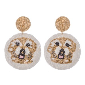 "Oversized Seed Beaded Designer Inspired Dog Felt Drop Earrings.  - Approximately 3"" L - Approximately 2.5"" in Diameter"