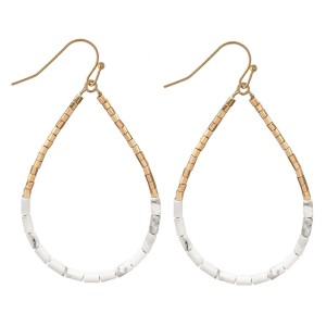 "Heishi Beaded Boho Teardrop Earrings.  - Approximately 2.25"" L"