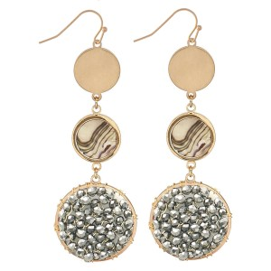 """Beaded Drop Earrings Featuring Abalone Accent in Gold.  - Approximately 2.75"""" L"""