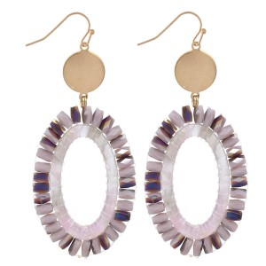 "Faceted Beaded Acrylic Oval Drop Earrings in Gold.  - Approximately 2.75"" Long"
