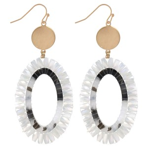"""Faceted Beaded Acrylic Oval Drop Earrings in Gold.  - Approximately 2.75"""" Long"""
