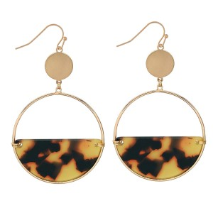 "Half Acrylic Tortoise Circular Drop Earrings in Gold.  - Approximately 2.5"" Long  - 2"" in Diameter"