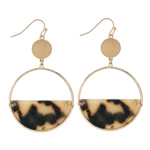 "Half Acrylic Circular Drop Earrings in Gold.  - Approximately 2.5"" Long  - 2"" in Diameter"