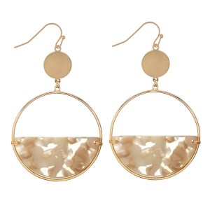 "Half Acrylic Circular Drop Earrings in Gold.  - Approximately 2.5"" Long  - 2"" in Diameter"