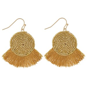 "Beaded Tassel Drop Earrings.  - Approximately 2"" L"
