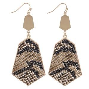 """Metal Encased Faux Leather Snakeskin Drop Earrings.  - Approximately 3"""" L"""